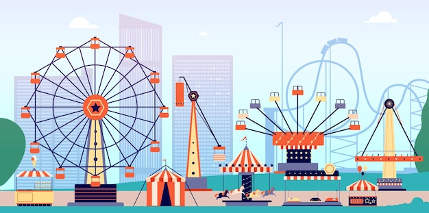 Amusement park with roller coaster and ferris wheel.