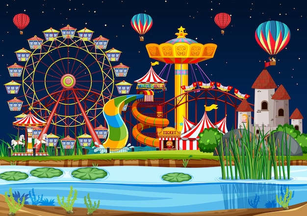 Amusement park with swamp scene at night with balloons