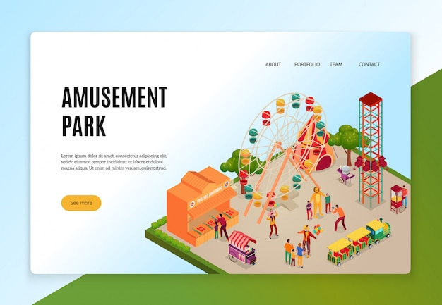 Amusement park with visitors during entertainments isometric concept of web banner