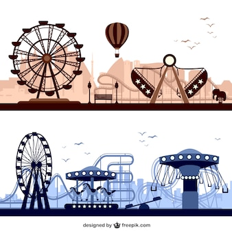 Amusement parks with big wheels and carousels