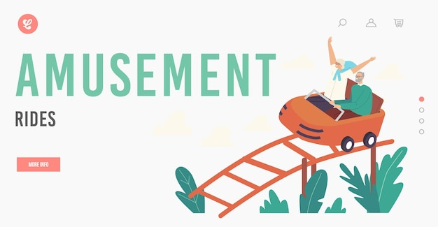 Amusement rides landing page template. excited senior couple characters riding roller coaster. aged woman cheer with raised hands, man hold bar. weekend recreation. cartoon people vector illustration