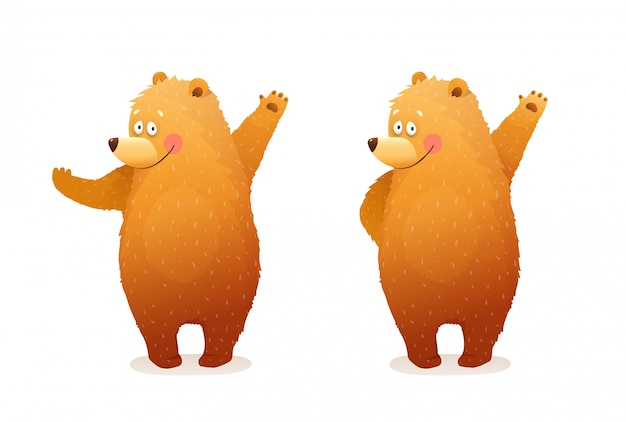 재미있는 곰 동물 캐릭터 마스코트, 인사, 포기 또는 손으로 보여주는. 별도의 동물 캐릭터 포즈 격리 된 클립 아트. 아이들을위한 귀여운 아기 새끼 곰 수채화 스타일 만화.