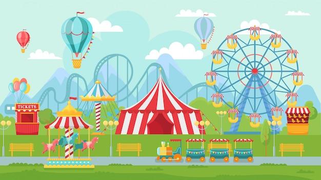 재미있는 공원 축제. 놀이 명소 풍경, 어린이 회전 목마 및 관람차 매력 그림