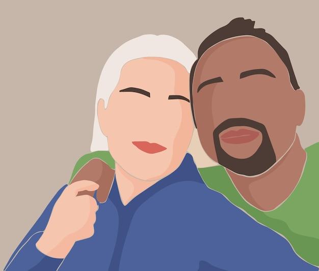 白人のヨーロッパ人女性と肌の色が濃い男性を抱きしめる抽象的な恋人たちのペア