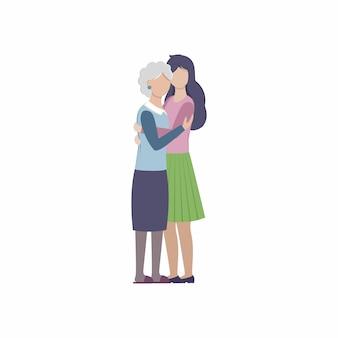 성인 딸이 그녀의 연로한 어머니를 껴안습니다. 엄마와 아이, 할머니와 손녀. 벡터 평면 만화 일러스트 레이 션. 어머니의 날 카드입니다. 젊고 오래된 여성.