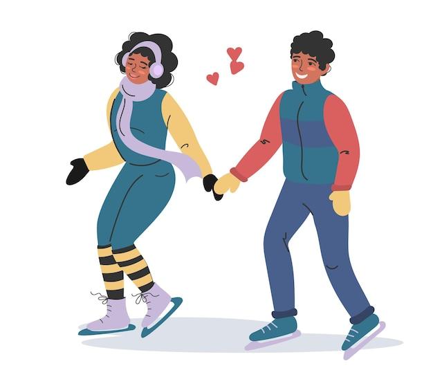 사랑에 빠진 아프리카계 미국인 부부가 겨울 옷을 입고 스케이트를 타고 있습니다. 사람들은 신선한 공기 속에서 스포츠를 합니다.
