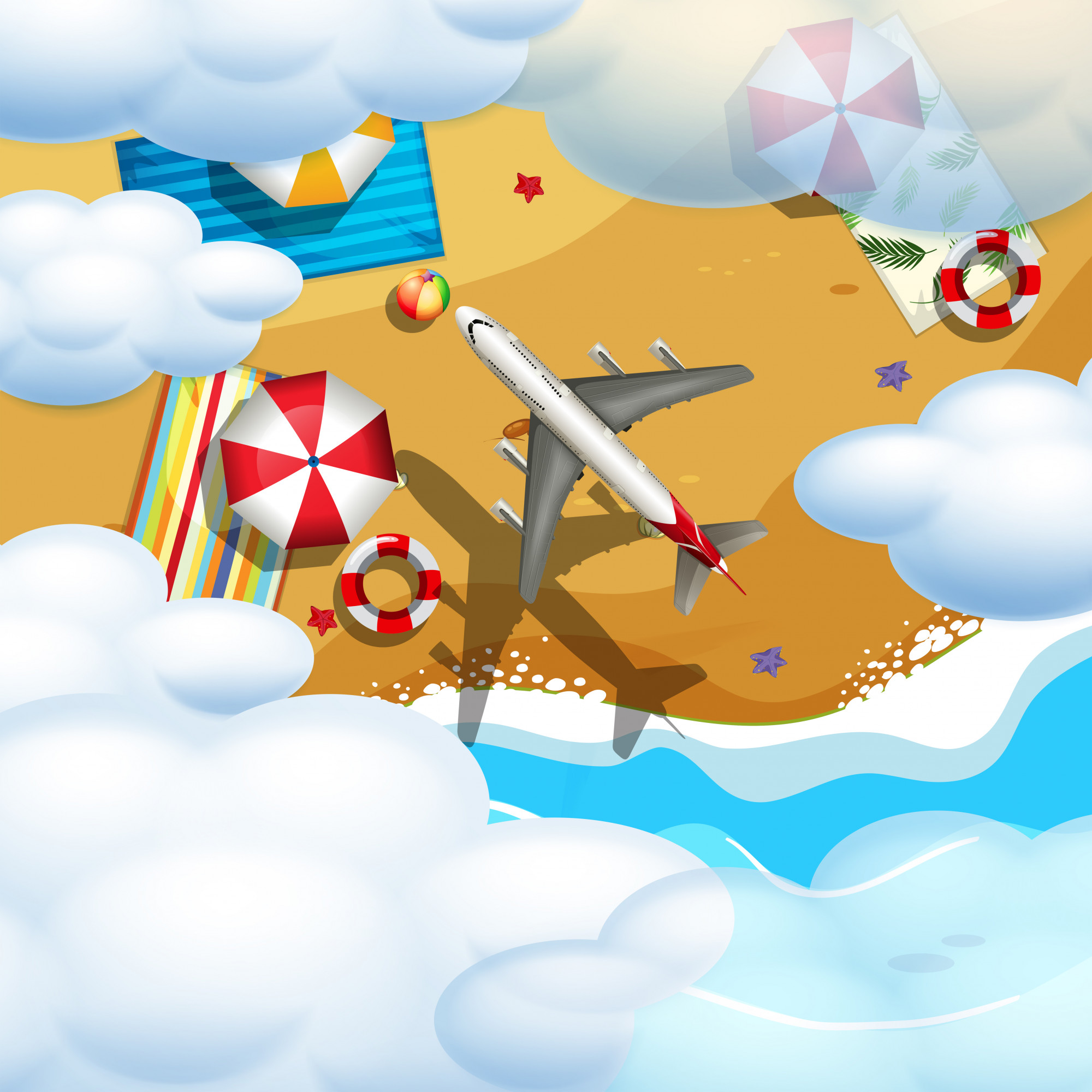 An airplane flying over the beach