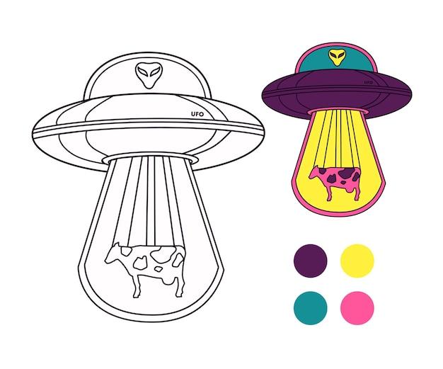 Инопланетная тарелка с инопланетянином и коровой. раскраски для детей с примером. векторная иллюстрация.