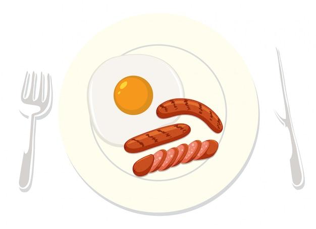 흰색 배경에 미국식 아침 식사