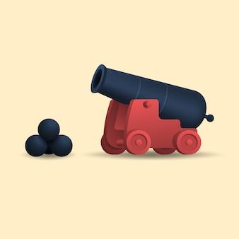 砲弾を持つ古代の大砲。