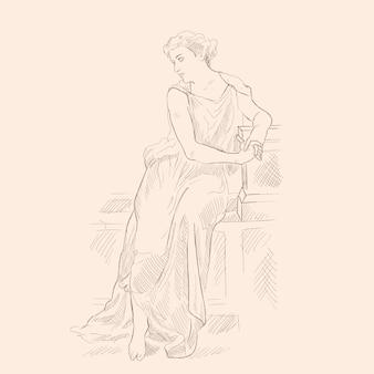 Древнегреческая женщина в тунике сидит на каменном парапете. векторное изображение на бежевом фоне.