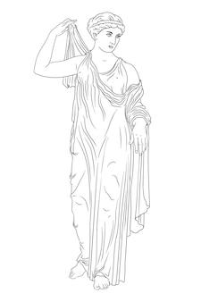 Древнегреческая женщина встает и надевает платье.