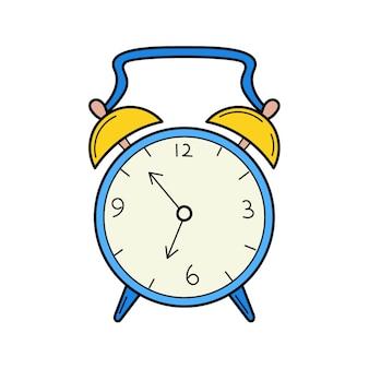 アンティークの目覚まし時計。落書きスタイル。手描きのカラフルなベクトルイラスト。