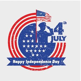 Военнослужащий приветствует американский флаг в день независимости 4 июля в винтажном стиле