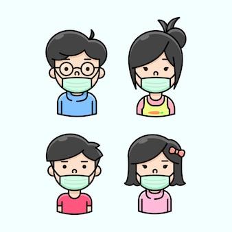 新しい通常のイラストでアジアの家族が身に着けている緑のマスカー