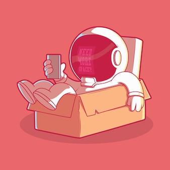 Космонавт внутри иллюстрации коробки. технологии, бренд, забавная концепция.