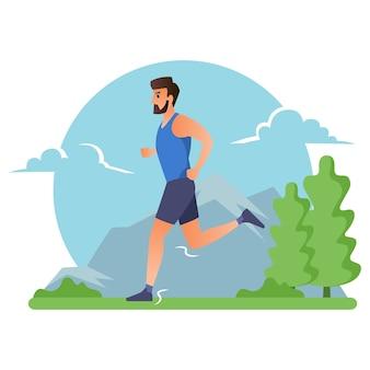 Спортсмен утром бежит по горе