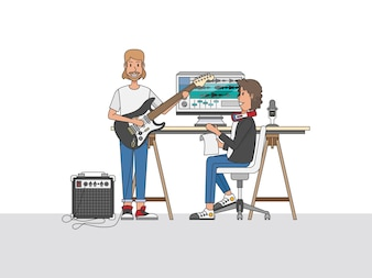 An audio engineer or a music producer collaborating