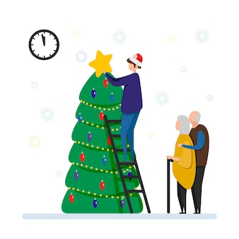 老夫婦とその息子が自宅でクリスマスツリー、新年、メリークリスマス、新年を飾ります。家族のお祝い