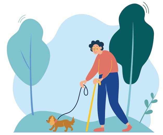 Пожилая дама гуляет с маленькой собачкой. прогулка на природе. счастливый хозяин с домашним животным. бабушка выгуливает собаку. плоский стиль векторные иллюстрации.