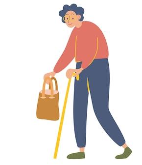 나이든 여자. 손에 가방과 지팡이를 든 할머니. 노년 연금 수급자는 지팡이에 기댄다. 흰색 배경에 고립 된 만화 평면 스타일에서 벡터 일러스트 레이 션.