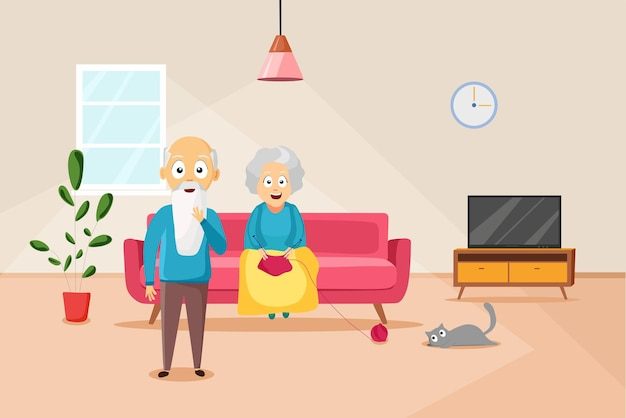 한 할머니가 거실 소파에 앉아 뜨개질을 하고 있다. 벡터 일러스트 레이 션.
