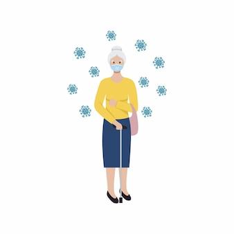 의료용 마스크에 지팡이를 짚고 있는 할머니. 할머니와 코로나바이러스. covid19 전염병 동안 보안 조치.