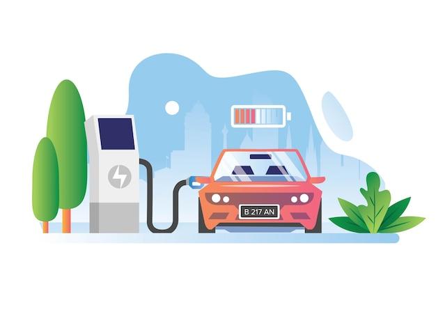 도시에서 전기 자동차가 배터리를 충전했습니다.