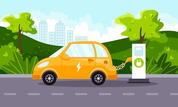 전기 자동차 충전소에서 전기 자동차 충전 녹색 환경 개념