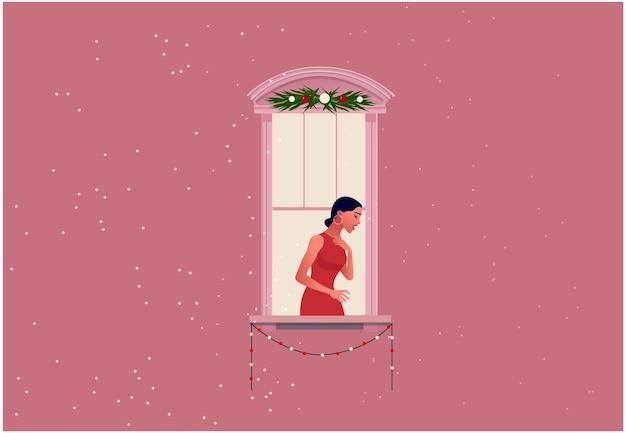 창 프레임에 노래하는 우아한 여자. 빨간 드레스에 아름 다운 여자입니다. 평면 그림.