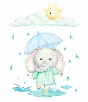 青い傘のある緑のレインコートを着た象が雨の中の水たまりを走っています。漫画のスタイルの水彩画のコンセプト。