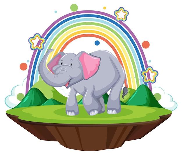虹のある土地に立っている象