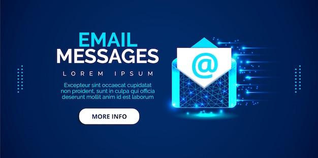 青い背景の電子メールメッセージの背景。