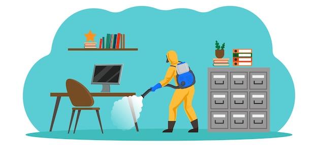 차가운 미스트 발생기가있는 화학 보호 복을 입은 직원이 위생 처리를 수행합니다. 코로나 바이러스 발생시 사무실 소독.