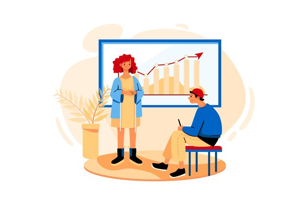 Сотрудник представляет проект коллеге в конференц-зале