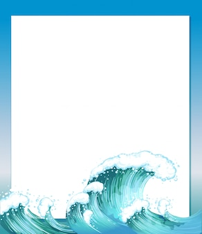 An empty paper template with waves at the bottom