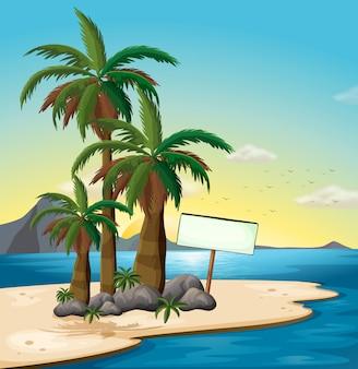 ビーチで空の看板