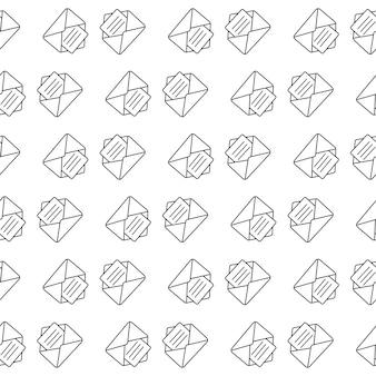 메시지가 담긴 봉투. 완벽 한 패턴입니다. 벡터 일러스트 레이 션. 장식 기호입니다. 벡터 디자인 배너입니다. 그래픽 패턴입니다.