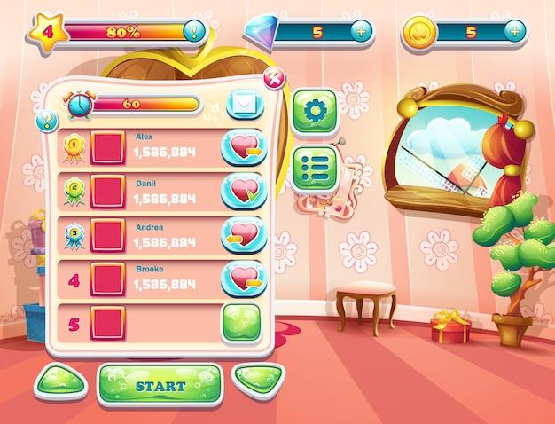 Пример одного из экранов компьютерной игры с загрузочным фоном спальни принцессы, пользовательским интерфейсом и различными элементами. установите 1.