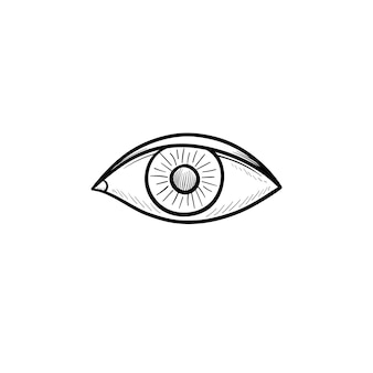 Значок каракули рисованной наброски глаза. радужная оболочка глаза и люди вид концепции векторные иллюстрации эскиз для печати, интернета, мобильных устройств и инфографики на белом фоне.