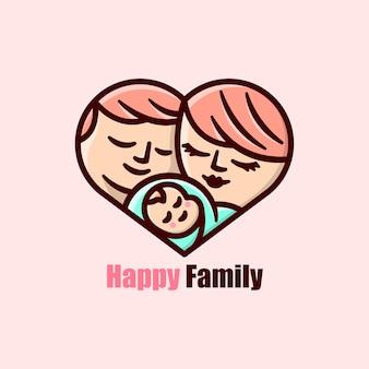 하트 모양의 만화 로고로 그린 행복한 가족 아버지 어머니와 아기