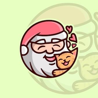 귀여운 주황색 고양이 만화 삽화로 행복한 산타 포옹