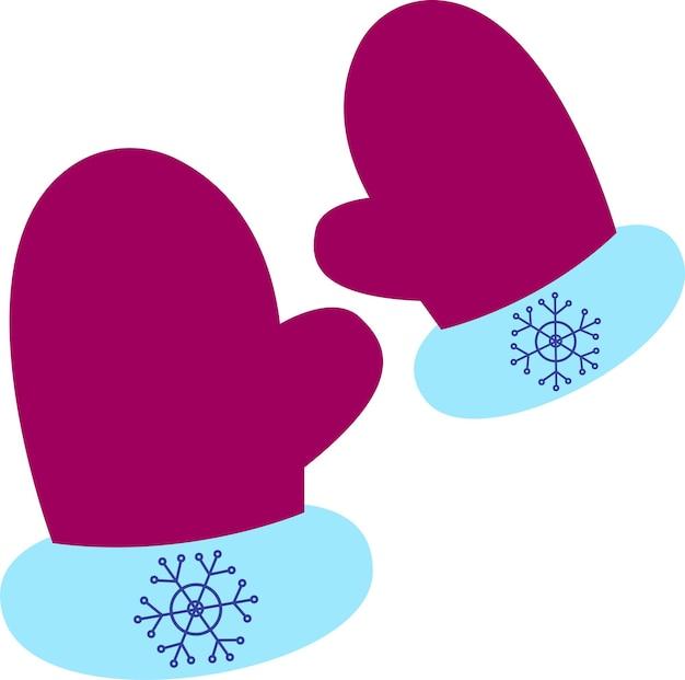 Икона пары теплых варежек в мультяшном стиле на белом фоне