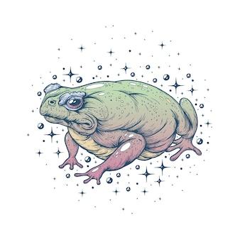 Иллюстрация, нарисованная пером и тушью лягушка