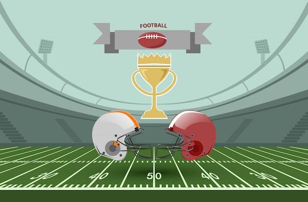 アメリカンフットボール選手権の試合のイラスト。