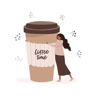 持ち帰り用のコーヒーの大きなカップを抱き締めるセーターを着た美しい少女のイラスト。