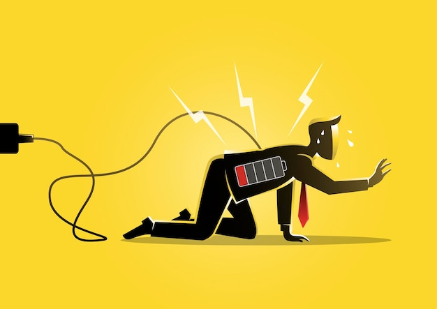 배터리 부족 표시로 바닥에 기어 다니는 사업가의 그림. 피곤하고 낮은 에너지 개념