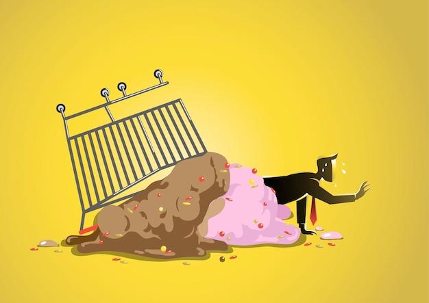 떨어진 아이스크림에서 기어 나오는 사업가의 그림. 비즈니스 개념