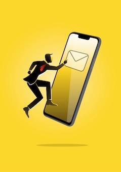 노란색 배경에 거대한 휴대전화를 들고 떠 있는 사업가의 그림