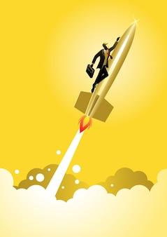 로켓으로 비행하는 사업가의 그림. 성공과 성장 개념